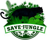 Vector el emblema de la selva con el jaguar del leopardo de la pantera negra stock de ilustración