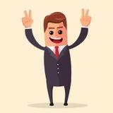 Vector el encargado o el carácter del negocio feliz y con los brazos abiertos, sonriendo ampliamente Ejemplo plano Foto de archivo libre de regalías