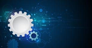 Vector el engranaje del ejemplo, rueda y placa de circuito, tecnología digital de alta tecnología e ingeniería foto de archivo libre de regalías