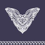 Vector el escote y el diseño florales de la frontera del cordón para la moda Impresión del cuello de las flores y de las hojas Ad Imágenes de archivo libres de regalías