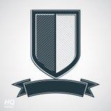 Vector el escudo de la defensa del grayscale con la cinta curvy, elemento del gráfico del diseño de la protección Imagen de archivo