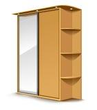 Vector el espejo de madera del guardarropa ilustración del vector