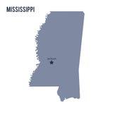 Vector el estado del mapa de Mississippi aisló en el fondo blanco stock de ilustración
