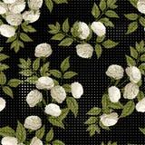 Vector el estampado de flores inconsútil con las rosas blancas en backgro negro Foto de archivo libre de regalías