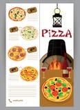 Vector el folleto, aviador, menú del prospecto para la pizza Fotos de archivo libres de regalías