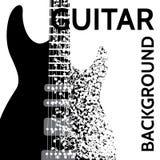 Vector el fondo abstracto con la guitarra eléctrica y las notas Foto de archivo libre de regalías
