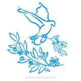 Vector el fondo azul para el día internacional de paz Ejemplo del concepto con la paloma de la paz, rama de olivo Paz internacion Fotografía de archivo