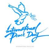 Vector el fondo azul para el día internacional de paz Ejemplo del concepto con la paloma de la paz, rama de olivo Imagenes de archivo