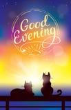 Vector el fondo colorido con dos gatos que miran puesta del sol Imagenes de archivo