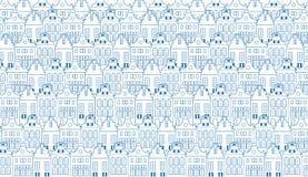 Vector el fondo con filas del viejo holandés las casas tradicionales de Holanda, Amsterdam en azul y blanco Fotografía de archivo libre de regalías