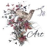 Vector el fondo con las flores y el pájaro del lirio en estilo grabado Fotografía de archivo