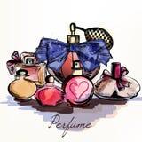 Vector el fondo con los perfumes dibujados en el estilo de la acuarela selecto stock de ilustración