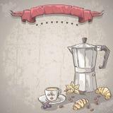 Vector el fondo con una taza de café, de café y de cruasanes Imagenes de archivo