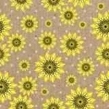 Vector el fondo de los seamleess con los girasoles amarillos en el papel de Kraft Fotos de archivo