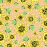 Vector el fondo de los seamleess con los girasoles y las hojas amarillos en el papel de Kraft Foto de archivo libre de regalías