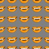 Vector el fondo de Víspera de Todos los Santos El modelo inconsútil del vampiro sonríe en los colores tradicionales del día de fi Fotografía de archivo