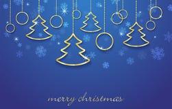Vector el fondo del Año Nuevo del ejemplo y de la feliz Navidad con los elementos de oro Fotografía de archivo libre de regalías