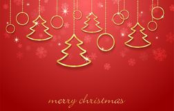 Vector el fondo del Año Nuevo del ejemplo y de la feliz Navidad con los elementos de oro Imagenes de archivo