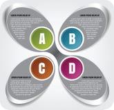 Vector el fondo del cromo de los pasos infographic de ABCD imagen de archivo libre de regalías