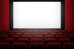 Vector el fondo del teatro de película con las cortinas rojas y las sillas de la pantalla blanca Foto de archivo libre de regalías