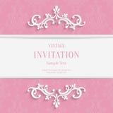 Vector el fondo floral rosado de las tarjetas de la Navidad 3d y de la invitación Fotos de archivo libres de regalías
