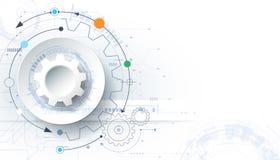 Vector el fondo futurista de la tecnología, rueda de engranaje del Libro Blanco 3d en placa de circuito