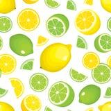 Vector el fondo inconsútil de los productos de la fruta cítrica - limón y cal en el fondo blanco Frutas y rebanadas enteras stock de ilustración