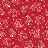 Vector el fondo inconsútil del modelo de la Navidad roja de las casas de pan de jengibre Perfeccione para la tela de las vacacion stock de ilustración