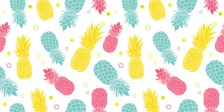 Vector el fondo inconsútil tropical del modelo del verano colorido de las piñas Grande como impresión de la materia textil, invit libre illustration