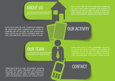 Vector el fondo infographic con cuatro marcas, iconos del contacto Imagen de archivo libre de regalías