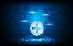 Vector el fondo médico del concepto de la atención sanitaria del extracto del logotipo de la innovación Fotografía de archivo libre de regalías