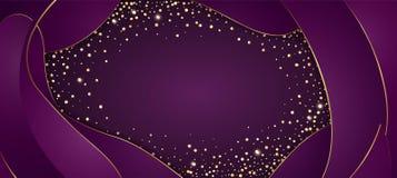 Vector el fondo púrpura festivo con el marco de oro para las invitaciones, cumpleaños del confeti que brilla de la celebración de ilustración del vector