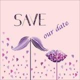 Vector el fondo para la invitación a la boda Bigote, labios y corazón Imagenes de archivo