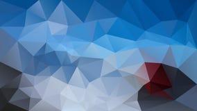 Vector el fondo poligonal irregular - modelo polivinílico bajo del triángulo - azul de cielo vibrante, gra oscuro rojo y ligero d Fotos de archivo
