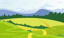 Vector el fondo verde del paisaje del ejemplo con los campos y las montañas amarillos stock de ilustración