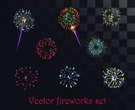 Vector el fuego artificial modelado festivo en el fondo alfa del estilo Fotografía de archivo libre de regalías