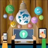 Vector el funcionamiento del hombre de negocios del contacto para alcanzar éxito en una tableta móvil para comunicar junto diseño Imagen de archivo libre de regalías