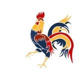 Vector el gallo que viene multicolor de la imagen en un fondo blanco Fotos de archivo libres de regalías
