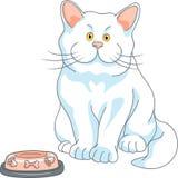 Vector el gato blanco lindo hambriento con el cuenco vacío stock de ilustración