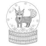 Vector el globo de la nieve del zentangle con el gato maic como unicornio Mano dracma Foto de archivo libre de regalías