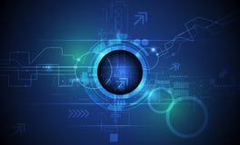 Vector el globo del ojo futurista abstracto en la placa de circuito, tecnología de comunicación ilustración del vector