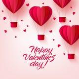 Vector el globo feliz del corazón del aire caliente del día de tarjetas del día de San Valentín Foto de archivo libre de regalías