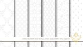 Vector el golpeteo inconsútil del elemento floral tailandés exótico blanco abstracto Fotos de archivo