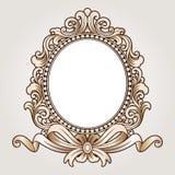 Vector el grabado del logotipo del marco de la frontera del vintage con el modelo retro del ornamento en diseño decorativo del es Imagen de archivo libre de regalías