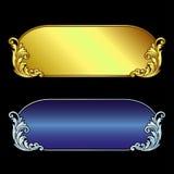 Vector el grabado del logotipo del marco de la frontera del vintage con el modelo retro del ornamento en diseño decorativo del es Fotos de archivo libres de regalías