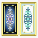 Vector el grabado del logotipo del marco de la frontera del vintage con el modelo retro del ornamento en diseño decorativo del es Fotografía de archivo libre de regalías
