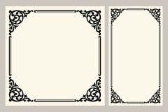 Vector el grabado del logotipo del marco de la frontera del vintage con el modelo retro del ornamento en diseño decorativo del es Foto de archivo