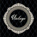 Vector el grabado del marco de la frontera del vintage con vector retro del ornamento Fotos de archivo libres de regalías