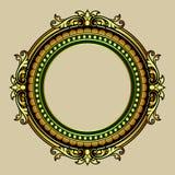 Vector el grabado del marco de la frontera del vintage con vector retro del ornamento Imagen de archivo