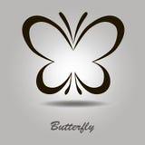 Vector el icono con la mariposa en un fondo gris Imagen de archivo libre de regalías